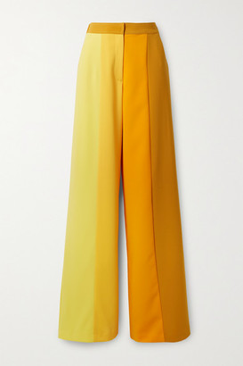 Christopher John Rogers Color-block Stretch-crepe Wide-leg Pants - Yellow