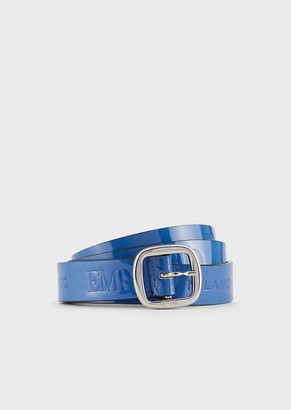 Emporio Armani Patent Leather Belt With Embossed Logo