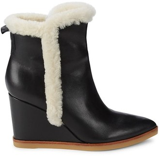 Marc Fisher Namsu Leather, Suede & Shearling Fur Wedge Booties