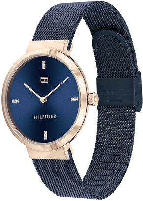 Tommy Hilfiger Liberty Navy Stainless Steel Mesh Navy Sunray Dial Ladies Watch