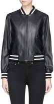 Alice + Olivia 'Demia' ring embellished slogan cropped leather bomber jacket