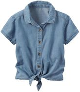 Carter's Baby Girl Chambray Button-Down & Tie Front Top