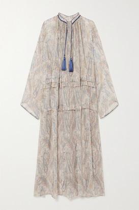 Etro Tasseled Paisley-print Silk-crepon Maxi Dress - Beige