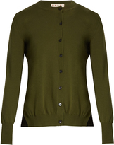Marni Pleated-back cotton-blend cardigan