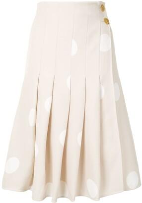 Proenza Schouler Polka-Dot Pleated Skirt
