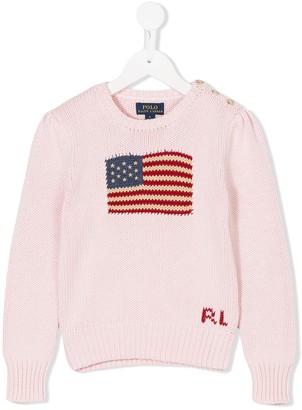 Ralph Lauren Kids US flag intarsia jumper