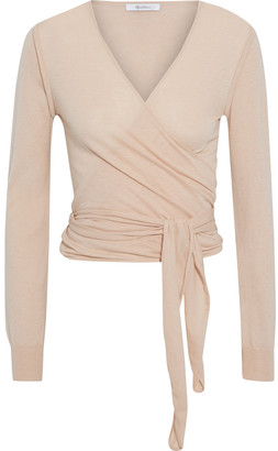 Max Mara Cirino Silk And Cashmere-blend Wrap Top