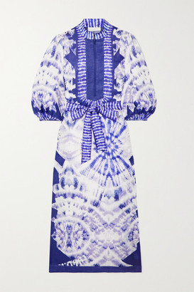 Zimmermann Lulu Belted Tie-dyed Linen Midi Dress - Blue