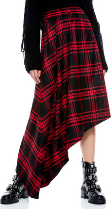 Alice + Olivia Natalina Plaid Asymmetrical Midi Skirt