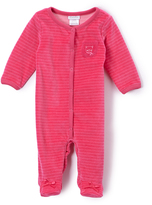 Absorba Fuchsia Stripe Velour Footie - Infant