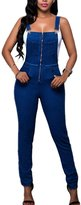 Ninimour Womens Stylish Trendy Denim Wash Overalls Long Jumpsuits L