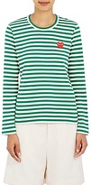 Comme des Garcons Women's Striped Long-Sleeve T-Shirt-GREEN, WHITE