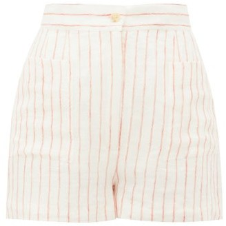 Three Graces London Osmo Striped Linen Shorts - Cream