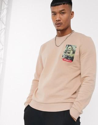 ASOS DESIGN sweatshirt with Star Wars Chewbacca print in beige