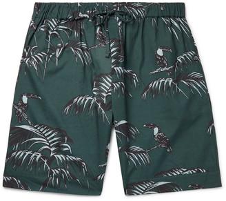 Desmond & Dempsey Printed Organic Cotton Pyjama Shorts - Green