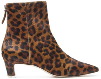 Black Suede Studio Sonia Leopard Ankle Boot
