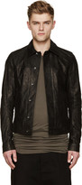 Rick Owens Black Brushed Leather Worker Jacket