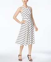Jessica Howard Petite Bow-Back Striped Fit & Flare Dress