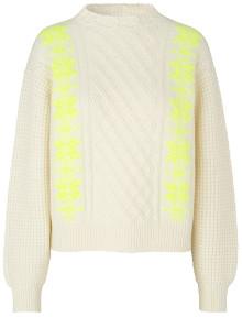 Mads Norgaard Recy Soft Knit Kalpa - Ecru/Neon Yellow - Size XS (UK 8-10)
