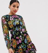 Asos Edition EDITION Petite embroidered and beaded mini dress with peplum hem