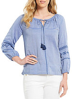 Tommy Bahama Chambray Shadows Embroidered 3/4 Sleeve Top