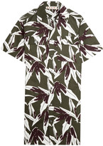 Marni Printed Cotton And Linen-blend Twill Shirt Dress - Army green
