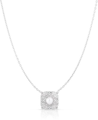Sphera Milano Rhodium Plated Sterling Silver Square Flower & 4mm Freshwater Pearl Pendant Necklace