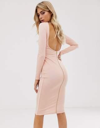 Asos Design backless long sleeve bandage midi dress with zip detail-White