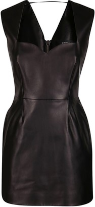 Versace Leather Fitted Mini Dress