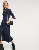 AllSaints polly denim maxi dress in dark indigo