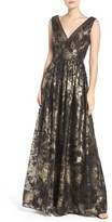 Vera Wang Women's Metallic Fit & Flare Gown