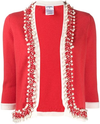 Chanel Pre Owned 2010s Faux-Pearls Braided Trimming Cardigan