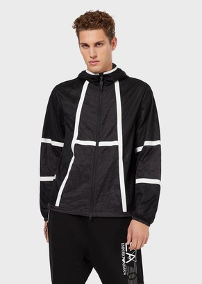 Ea7 Hooded Windbreaker With Contrasting Tape