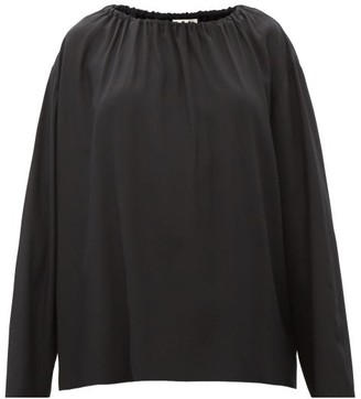 The Row Campo Gathered-neck Long-sleeved Silk Blouse - Black