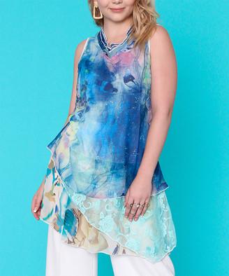 Ophelia Fashion Concepts Women's Tunics Multi - Blue Floral Layered Sleeveless Tunic - Women
