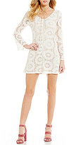 Xtraordinary Floral Lace V-Neck Illusion Long-Sleeve Sheath Dress