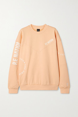 P.E Nation Field Goal Flocked Organic Cotton-jersey Sweatshirt - Pastel orange