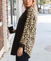 Amaryllis Women's Pullover Sweaters LEOPARD - Cream & Brown Leopard Contrast Sweater - Women