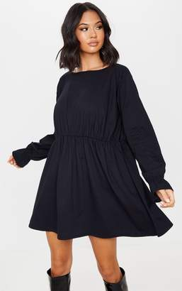 PrettyLittleThing Black Long Sleeve Frill Cotton Elastane Cuff Smock Dress