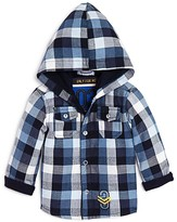 3 Pommes Infant Boys' Hooded Check Print Shirt - Sizes 3-24 Months