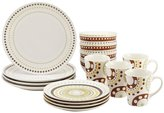 Rachael Ray Circles and Dots Stoneware 16-Piece Dinnerware Set - Print