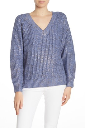 360 Cashmere Sora V-Neck Metallic Knit Sweater
