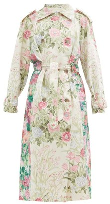 Rave Review Rue Floral Upcycled-bedsheet Trench Coat - Multi