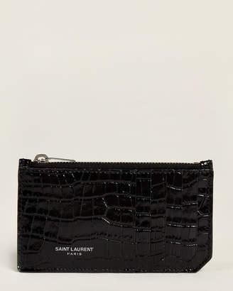 Saint Laurent Black Croc-Embossed Zip Card Case