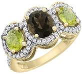 PIERA 14K Yellow Gold Natural Smoky Topaz & Lemon Quartz 3-Stone Ring Oval Diamond Accent, size 5