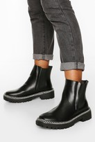 boohoo Wide Fit Chain Detail Chunky Chelsea Boots