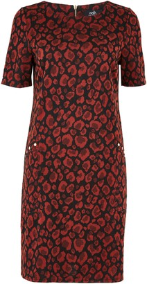 Wallis Rust Animal Print Jacquard Shift Dress