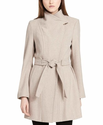 Calvin Klein Women's Wool wrap Flare Coat and Toggle Neck Closure