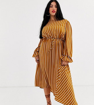 Unique21 Hero stripe long sleeve drawstring waist dress