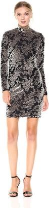 Dress the Population Women's Dana Long Sleeve Velvet Mini Dress
